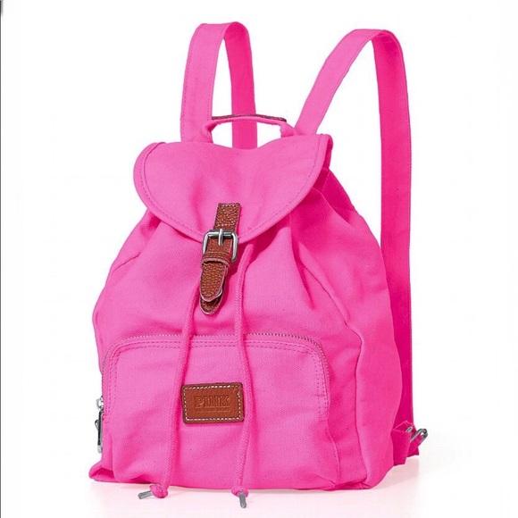 dc6b5c3e26e2 PINK Victoria s Secret canvas backpack. M 5b66b28310fc54fdf332df21